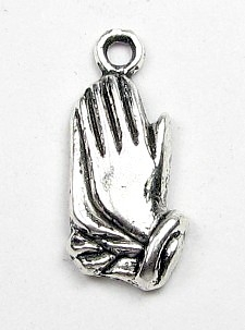 rosary charms parts Tiny Praying Hands Charm Antique Silver Finish 1.6cm