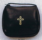 Rich, Deluxe soft Leather BURSE case with gold, hot stamping (Cross), lined, with zipper closure and Draw string.Burse for pyx, case for pyxes Holder size Pyx Holder BLACK