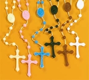 Plastic rosary Catholic cord rosaries on cord inexpensive kids rosary- colors, Luminous, Glow in the Dark, Black, Brown, White, Black, Brown, Red, Green - poly bag, school, teachers class packs