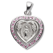 "5/8""x5/8"" Miraculous Medal with Pink brilliant-cut Cubic zirconia Sterling Silver medal. Heart Shape Miraculous medal-Traditional Catholic Medals of Devotion in Fine Sterling Silver. with 18"" Rhodium Chain"