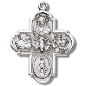 "Four way Cross 1 1/4"" 100% Sterling Silver with Chain necklace subjects Holy Spirit, Scapular Sacred Heart of Jesus Lady of Mt. Carmel Miraculous Medal, Saint Joseph Guardian Angel, Infant of Prague,Lady of Mount Carmel four man way man ladys"