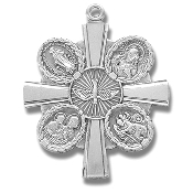 "Catholic Four way Cross Medal 100% Sterling Silver 1 1/4"" subjects Holy Spirit, Scapular Sacred Heart of Jesus Lady of Mt. Carmel Miraculous Medal, Saint Joseph Guardian Angel, Infant of Prague,Lady of Mount Carmel four man way man ladys"