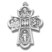 "Four way 1 1/8"" Cross 100% Sterling Silver Chain and Gift Boxed subjects Holy Spirit, Scapular Sacred Heart of Jesus Lady of Mt. Carmel Miraculous Medal, Saint Joseph Guardian Angel, Infant of Prague,Lady of Mount Carmel four man way man ladys"