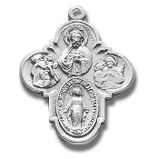"Four way Cross 1""-100% Sterling Silver with Chain Gift Boxed necklace subjects Holy Spirit, Scapular Sacred Heart of Jesus Lady of Mt. Carmel Miraculous Medal, Saint Joseph Guardian Angel, Infant of Prague,Lady of Mount Carmel four man way man"