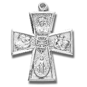 "Four way Cross 1 1/8""-100% Sterling Silver with Chain Gift Boxed necklace subjects Holy Spirit, Scapular Sacred Heart of Jesus Lady of Mt. Carmel Miraculous Medal, Saint Joseph Guardian Angel, Infant of Prague,Lady of Mount Carmel four man ."