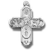 "Four way Cross 3/4"" 100% Sterling Silver with Chain Gift Boxed necklace subjects Holy Spirit, Scapular Sacred Heart of Jesus Lady of Mt. Carmel Miraculous Medal, Saint Joseph Guardian Angel, Infant of Prague,Lady of Mount Carmel four man way"