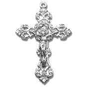 Rosary parts to make rosaries Sterling Silver Filigree Scroll Relief Design Crucifix