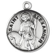 Saint Alexander Medal Sterling Silver Patron Catholic Charm