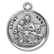 Saint Anne Medal Sterling Silver Patron Catholic Charm