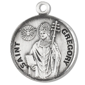 Saint Gregory Medal Sterling Silver Patron Catholic Charm