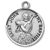 Saint John the Baptist Medal Sterling Silver Patron Catholic