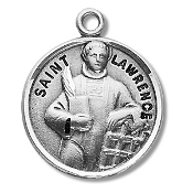 Saint Lawrence Medal Sterling Silver Patron Catholic Charm