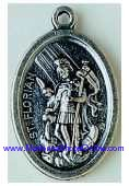 "St Florian Silver Oxidized Medal 1"" oval Italy Styles Vary"