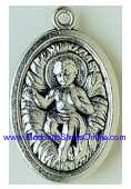 "Infant Baby Jesus in Crib Silver Oxidized Medal 1"" Italy"