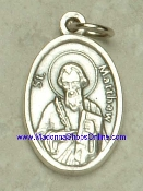 "St Matthew Silver Oxidized St Matthew Medal 1"" oval Italy"
