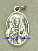 "St Stephen Silver Oxidized Saint Stephen Medal 1"" oval Italy"