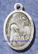 "St Margaret Silver Oxidized Saint Margaret Medal 1"" oval Italy"