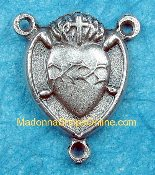 Silver Crown of Hearts/Lady of Sorrows 1.8cm Rosary Centers parts Made in italy