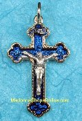 Exquisite Gold Plated Crucifix Blue Enameled 4.2cm Italy 6/Pk. Exquisite Rosary Crucifix Inexpensive -This exceptionally detailed die-cast crucifix is made in the region of Italy that produces the finest quality Catholic Products in the world.