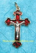 Exquisite Gold Plated Crucifix Red Enameled 4.2cm Italy 6/Pk..This exceptionally detailed die-cast crucifix is made in the region of Italy that produces the finest quality medals in the world.