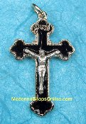 Exquisite Gold Plated Crucifix Black Enameled 4.2cm Italy 6/pk.This exceptionally detailed die-cast crucifix is made in the region of Italy that produces the finest quality medals in the world.