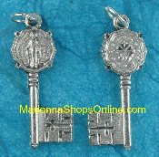 Miraculous Medal Key to Heaven Silver Italy 1 1/8""