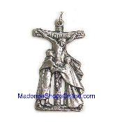 Vision of Christ Charm Silver oxidized medal Holy Catholic Crucifix-Saint Francis of Assisi October 3, 1226 He is known as the patron saint of animals, blessing animals on his feast day of 4 October.