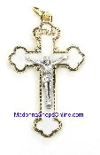 Exquisite Gold Plated Crucifix White Enameled 4.2cm Italy 6/Pk..This exceptionally detailed die-cast crucifix is made in the region of Italy that produces the finest quality medals in the world.