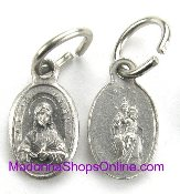 Scapular medal Tiny - Great for watch, Bracelets, favors Includes jump ring -Measurement does not include eyelet-Our Smallest Catholic Medal oval Tiny Scapular medal Silver Oxidized-Made in Italy-SHJ