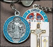 Saint Benedict Medals Crucifixes and Crosses-THE SAINT BENEDICT CROSS. THE SAINT BENEDICT CRUCIFIX Gold and Silver Silver Oxidized, Nickel Silver, Enamel Medals st benedict medal