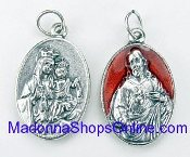 "Enamel Red Epoxy Scapular Medal 7/8"" Made in Italy"