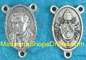 "Pope Benedict XVI Silver Rosary Centerpieces 1"" Rosary Parts"