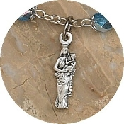 TINY Lady of Mt Carmel Charm Silver Oxidized medals 2.3cm