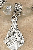 TINY Sacred Heart of Jesus Charm Silver Oxidized medals 1.6cm