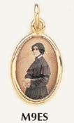 "Saint Elizabeth Seton Medal Gold Plated Color Picture 7/8"" oval"