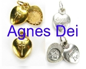 Agnus Dei meaning Lamb of God-In the Roman Catholic Church it is also a tablet of wax stamped with a representation of Jesus as a lamb bearing a cross, then blessed by the Pope as a sacramental-Relic Agnus Dei Heart Charm Gold or Silver Italy