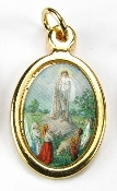 Beautiful and elegant. Made in Italy High Quality 24kt Gold Plated Catholic medals Saint Mary Jesus Full color pictures mounted on a Polished Gold metal charm