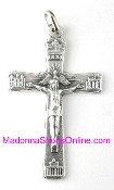 Economical Four Basilicas and Holy Spirit Halo Crucifix Metal Silver Oxidized Rosary parts-Crucifix Charms, Necklace-Includes jump ring-Rosary Crucifixes Pendant-Italy-Crucifix to make rosaries Inexpensive Catholic Cross