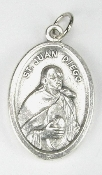 "St Juan Diego Silver Oxidized St Juan Diego Medal 1"" Italy"