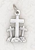 Tiny Deluxe Three Crosses Charm Silver Bracelet Parts 1.6cm