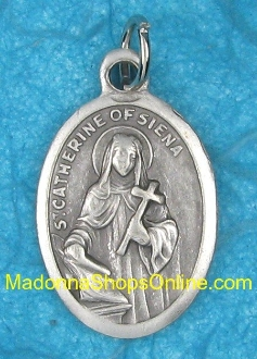 "St Catherine Siena Silver Medal 1"" Italy Styles Vary"