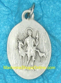 "St Hubert Silver Oxidized Saint Hubert Medal 1"" oval Italy"