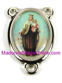 Color Picture Center Lady of Mt Carmel H-2.7cm Rosary Parts
