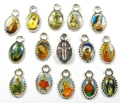 TINY 50 pcs Mixed Catholic Charms SILVER Oval 1.1cm Saints Vary