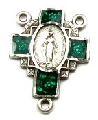 rosary parts, Green Miraculous medal Sterling Silver Rosary Centerpiece 2.1cm