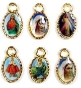 Small charms with Full Color Pictures of Catholic Saints, Mary and Jesus. Medals Gold and Silver Finishes- inexpensive Bulk lots - Bracelet Parts and rosary parts centerpieces