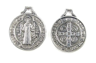 "Saint Benedict Jubilee Antique silver-plated Medal 3/4"" ROUND"