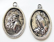 St Anthony with Praying Hands Antique silver-plated charm 1""