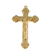"Gold Finish Crucifix cross 1 7/8"" x 1 1/8"" Rosary part Necklace Rosary Parts"