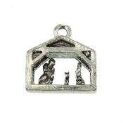 Tiny Nativity Stable Charm Deluxe Silver Finish 19.9x14.7mm